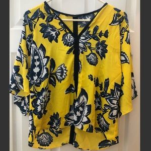Zara Yellow, Blue and White Floral Blouse